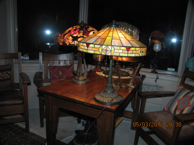 Dons lamps antiques wilkinson table lamp the shade measures 185 the base is properly signed wilkinson brooklyne new york has 3 hubbell sockets with acorn chain pulls and original patina aloadofball Choice Image